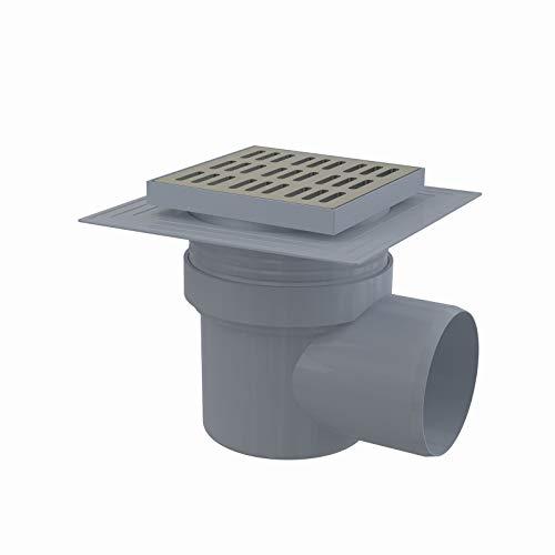 Desagüe de Suelo 150x 150Conector DN 110Báscula Derecho Acero Inoxidable Extra Plano–Desagüe de baño desagüe de ducha