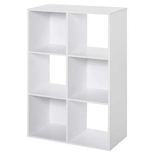 homcom Libreria Bianca per Casa e Ufficio, Scaffale dal Design Moderno con 6 Scomparti in Legno, 91.5x29.5x61.5cm