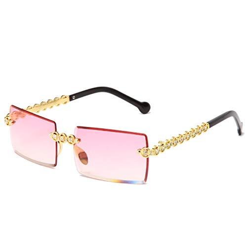 UKKD Gafas De Sol Mujer Gafas De Sol De Diamante Sin Montura De Moda Mujeres Pequeñas Gafas De Sol Cuadradas De Metal Sombras Uv400 Gafas