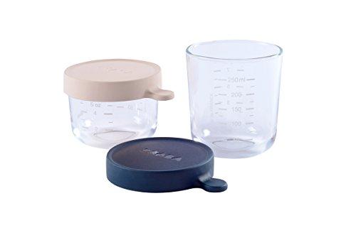 BÉABA - Aufbewahrungsbehälter für Babynahrung - 2er Pack - Skalierung - Temperaturbeständig - Aufbewahrungsbehälter für Babys und Kleinkinder - 150 ml + 250 ml - Rosa/Dunkelblau