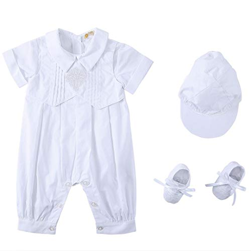 Bow Dream Baby Boy's 3 Pcs Christening Baptism Outfit Infant Romper Short Sleeve 3-6 Months