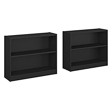 Bush Furniture Universal 2 Shelf Bookcase Set of 2 in Classic Black