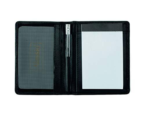 Alassio Bloc de Notas de Funda Monza Cuaderno de Cuero Negro, 7,5cm x 11cm, Red Compartimento para Tarjetas de Visita, Bloc de Notas, bolígrafo