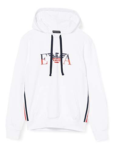 Emporio Armani Underwear Herren Homewear - Iconic Terry Sweater Sweatshirt, Weiß (Bianco 00010), Small (Herstellergröße:S)