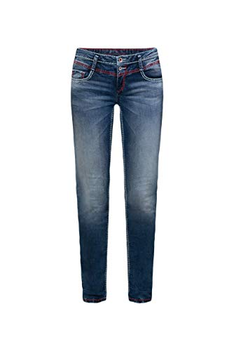 SOCCX Damen Jeans KA:RA mit Used-Waschung und farbigen Nähten