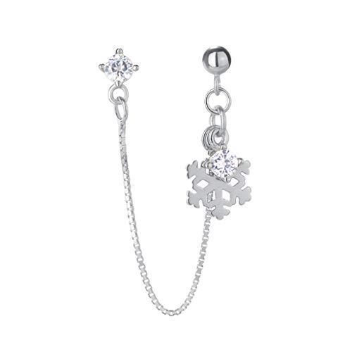 Huyiko - Pendientes de copo de nieve de moda, pendientes colgantes de plata, regalo de joyería para niñas