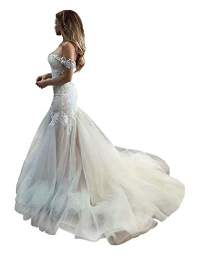 QueenBridal Cathedral Train Mermaid Wedding Dress Beaded Applique Off Shoulder Bride Dresses QU89 Ivory