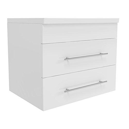 Vicco Waschplatz 60 cm - Weiß Hochglanz - Softclose Funktion - Badmöbel Set Waschtisch Waschbecken Gäste WC Bad Unterschrank Badezimmer