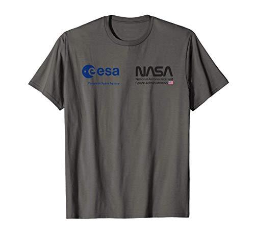 ESA NASA Shirt, Cooperazione Agenzie Spaziali UE, USA Logo Maglietta