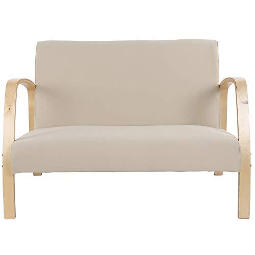 Tuinbank, houten bank, zitbank, tuinstoel, loungestoel, woonkamerstoel, gestoffeerde stoel, relaxfauteuil met armleuningen en gewatteerd, 2 zits opnamestoel voor eetkamer, woonkamer, 111 x 55 x 78 cm