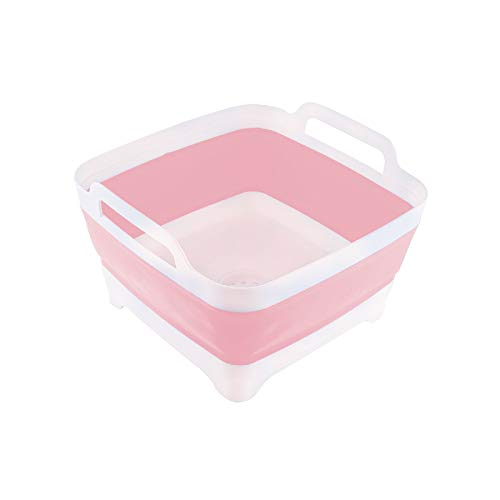 THANSTAR Dish Basin Collapsible with Drain Plug Portable Wash Basin Foldable Sink Tub Carry Handle Dishpan Space Saving Kitchen Storage Tray for Camping RV Vegetable Fruit Washing 9L Capacity Pink
