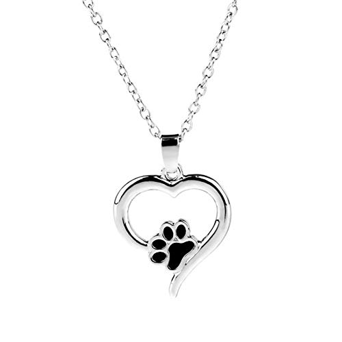 FyaWTM Halskette Choker for Frauen/Mädchen Hohl Tier Herz Anhänger Halskette Fußabdruck Hundekette Schmuck Pfote Halsketten Katze Haustier