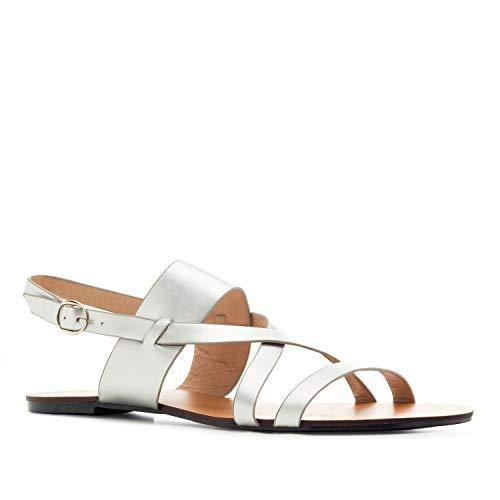 Sandalias de Mujer de Verano - AM5465 - Sandalias Tejido en Soft con Tiras an Tono y Cierre de Hebilla - Color Plata. Talla EU 43
