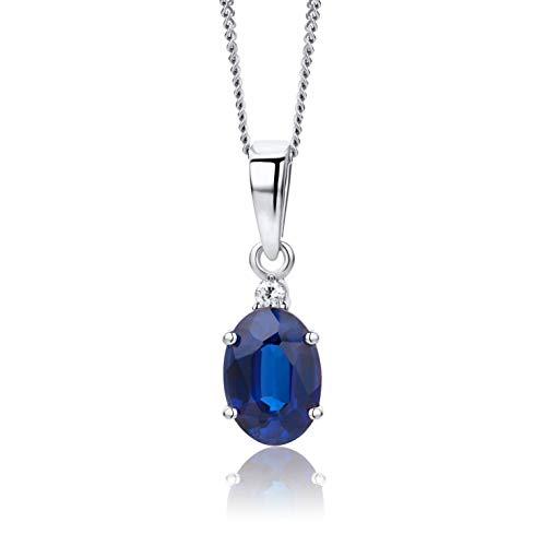 Orovi bijoux femme, collier en or blanc avec pendentif diamant 0.02 Ct et Saphir bleu pierre précieuse 1.1 Ct chaîne 45 cm 9 Kt / 375 Or