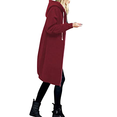 Vexiangni Chaqueta de entretiempo con capucha para mujer, ligera, adecuada para el tiempo libre, con cremallera, cortavientos, de un solo color, rojo, XXXL