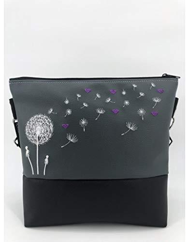 Handtasche Pusteblume mit Herzen (lila) Schultertasche/Umhängetasche *bestickt