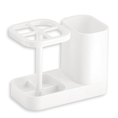 Price comparison product image iDesign Med+ Toothbrush Holder,  Plastic Dental Center with Toothbrush Stand and Toothpaste Compartment,  White