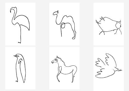 General ART Picasso Zeichnungsposter/Kunstdrucke mit Zeichnungen, DIN A4, 21 x 29 cm, ungerahmt, für Pablo Picasso Gemälde Liebhaber