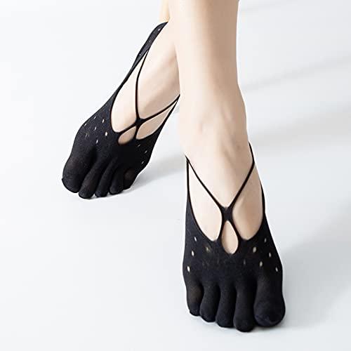 Summer Five finger Socks, 5 Pairs Five Toes Strap Cooling Socks, Orthopedic Compression Socks Women Toe Socks (Black,A)