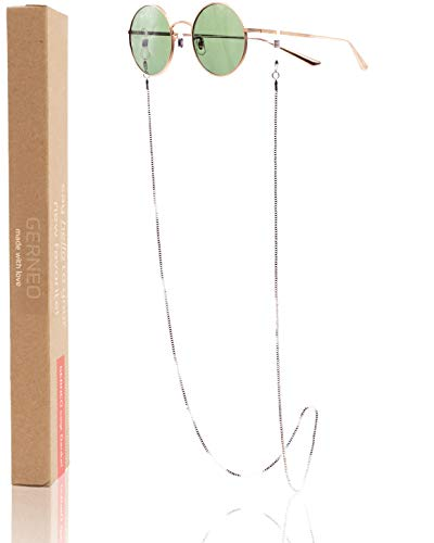 GERNEO® - Barcelona – Maskenhalter & Brillenkette Silber - korrosionsbeständig – einzigartig hochwertige Brillen Kette & Brillenband für Sonnenbrille & Lesebrille - Brillenkette mit Karabiner