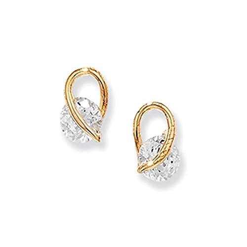 Aeon - Orecchini a perno in oro 9 kt, con zirconia cubica bianca, ipoallergenici, in oro 9 carati, da donna, stile elegante e di qualità, 10 mm x 6 mm