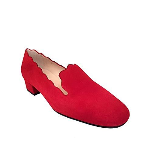 OLLETA - Mocasines Rojos Estilosos de Vestir para Mujer en Piel con Tacon Bajo Ancho de 3 cm y Punta Cuadrada - Hechos en España - Moda Zapatos Planos con Olas - Piel Ante Rojo - Rojo 39 EU