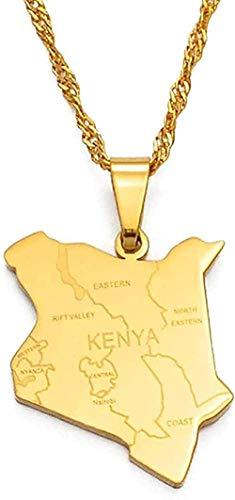 NC198 Collar Collar Mapa de Kenia y amp Citye Collares Pendientes Joyería Color Dorado Mapa Africano Joyería Kenianos Mapa Kenianos