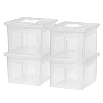 IRIS USA Letter & Legal Size Plastic Storage Bin Tote Organizing File Box with Durable and Secure Latching Lid Stackable and Nestable 4 Pack Clear
