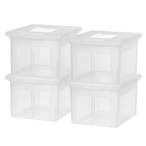 IRIS USA Letter & Legal Size Plastic Storage Bin Tote Organizing File Box with Durable and Secure Latching Lid, Stackable and Nestable, 4 Pack, Clear