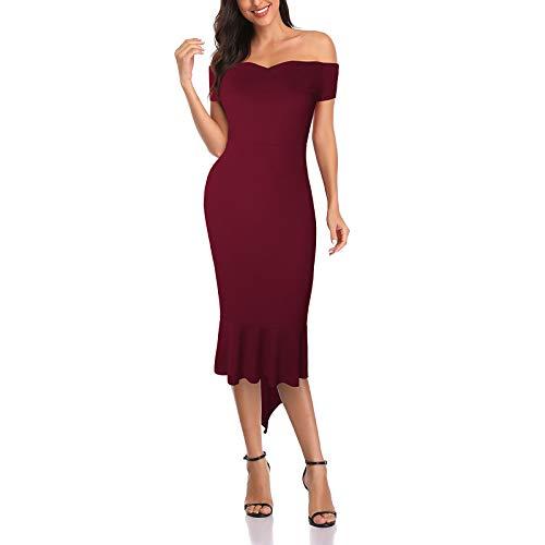 Toppeed - Vestido para mujer, vestido de un hombro, vestido de color liso, estampado floral irregular, vestido elegante, vintage, fiesta, cóctel, boda, ceremonia Du Vin XL