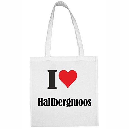 Tasche I Love Hallbergmoos Größe 38x42 Farbe Weiss Druck Schwarz