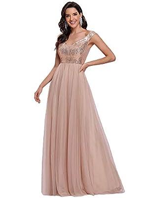 Ever-Pretty Womens Elegant V Neck Short Sleeve Floor Length Bridesmaid Dress Rose Gold US6