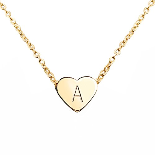 MignonandMignon Gold Heart Necklace Initial Necklace Bridesmaid Gift Graduation Gift for Her (A) -...