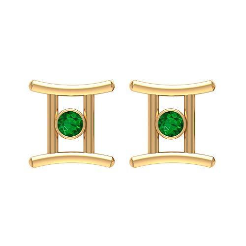 Pendientes de tuerca Gemini Zodiac Emerald de 1/4 CT (calidad AAA), con rosca trasera verde