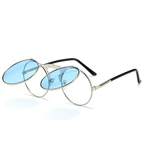 DTMEFJ Cyberpunk Steampunk Gafas de sol góticas redondas Retro Flip Gafas de sol redondas Metal Nuevas señoras Gafas de sol de estilo para hombres