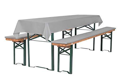 TexDeko Bierbank-Auflagen 2cm 3TLG Set mit Tischdecke (100x250 cm) Grau (wasserabweisend - schmutzabweisend)