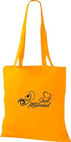Shirtstown Tote Bag, Just Married Matrimonio Amore Fiore Cuore - giallo dorato, 38 cm x 42 cm
