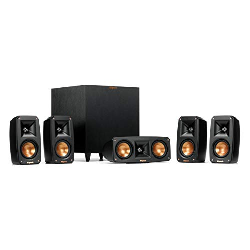 Klipsch Reference Theater Pack 5.1 Channel Surround Sound System, Wireless High Fidelity Subwoofer, Wall Mountable Design, Spmor 32GB SD Card
