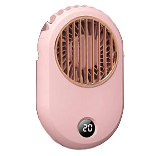 DAMAJIANGM Pantalla Digital Ventilador de Cuello Colgante USB Mini Ventilador silencioso de Mano con Cuello Colgante Rosa