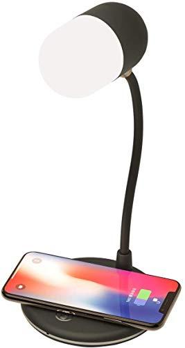 LED lámpara de escritorio 3 en 1, Lámpara de mesa de atención oftálmica noche de la lámpara con carga inalámbrica, 3 modos de iluminación, altavoz Bluetooth (Color : Rosado)