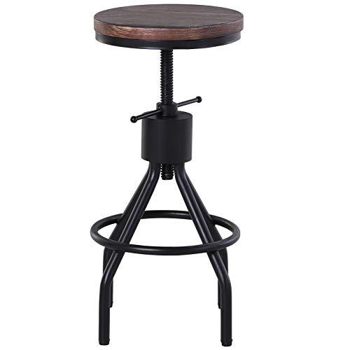 homcom Sgabello Stile Industriale per Cucina/Bar in Metallo, Seduta Legno di Pino con Altezza Regolabile, 40x40x59-77cm
