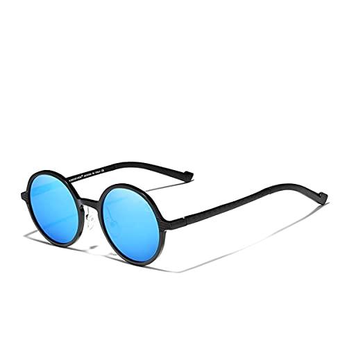 TYTG Gafas de sol de aluminio Steampunk Round Gafas de sol Vintage Mujeres Gafas de sol Artículos para uso diario (Lentejuelas Color: Negro Azul)