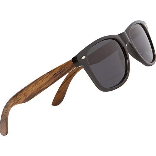 Woodies Schwarze Sonnenbrille aus Holz für Damen und Herren Polarisierende Wayfarer Brille mit Bügeln aus Walnuss | Holzbrille mit UV-Schutz | Putztuch, Etui und mehr gratis dazu