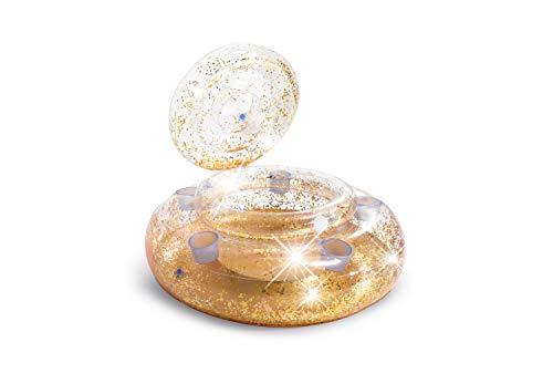 Intex 56810NP - Nevera Hinchable Oro con Purpurina y 5 Posavasos