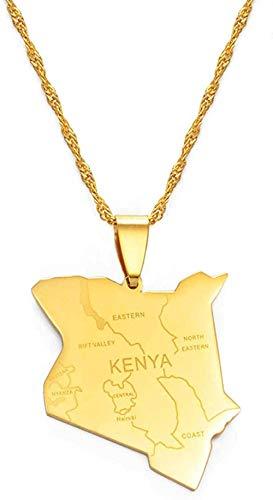 YOUZYHG co.,ltd Collar Mapa de Kenia y Nombre de la Ciudad Collares Pendientes Joyería Color Plateado/Color Dorado Mapa de Kenia Joyería Mapas de Kenia