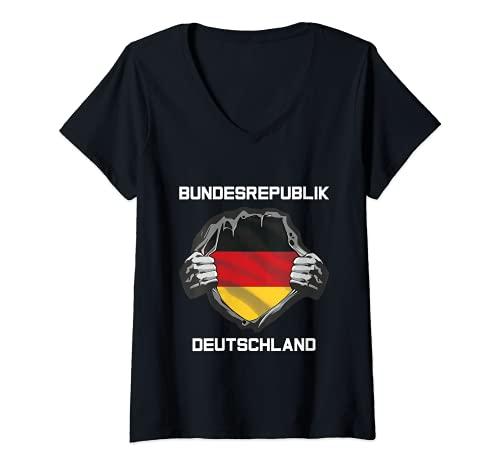 Damen Deutsche Flagge Deutschland Fan Kleidung Fußball Trikot 2021 T-Shirt mit V-Ausschnitt