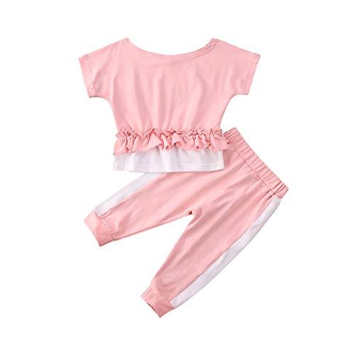 Baby-Sportbekleidungs-Set mit Oberteil und Hose, kurze Ärmel, Outfit für Kinder, Baby, Mädchen, 2-teiliges Set für den Sommer Gr. 86, rose