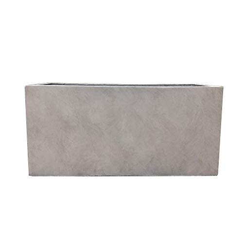 Kante RF0104B-C80021-2 Lightweight Durable Modern Rectangle Outdoor Planter, Weathered Concrete