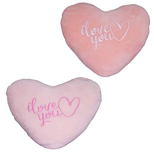 Mojawo Juego de 2 cojines decorativos con forma de corazón (40 x 35 cm), color rosa y albaricoque