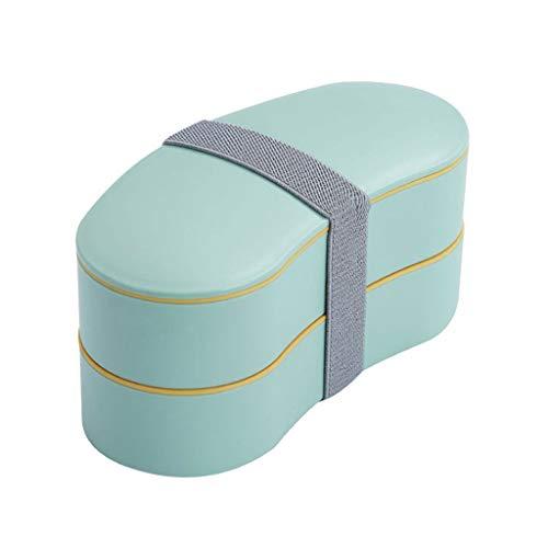 Fiambrera portátil de doble capa con vajilla, duradera maleta bento, recipiente para desayuno reducido en grasa, accesorio de transporte de alimentos